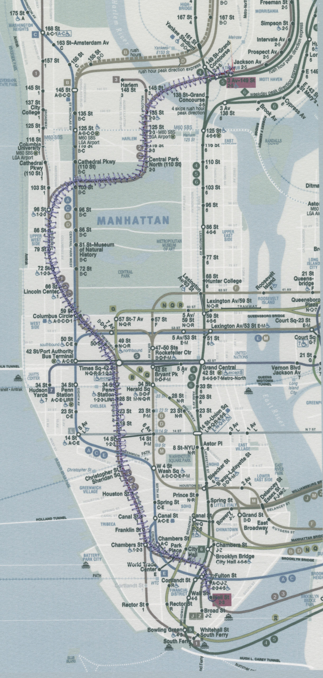 map of manhattan with stitching over the blue subway line
