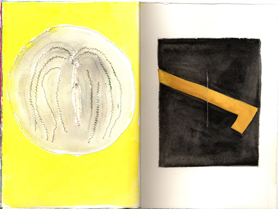 yellow left page, right page with black square and yellow check mark