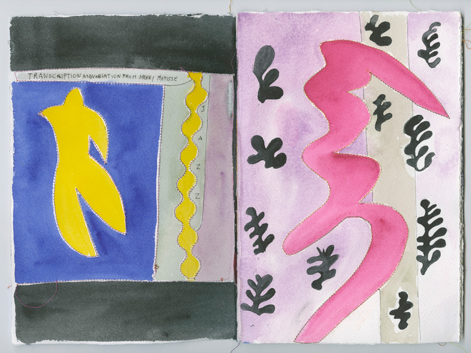 watercolor copy of Matisse's book Jazz, yellow figure on blue background