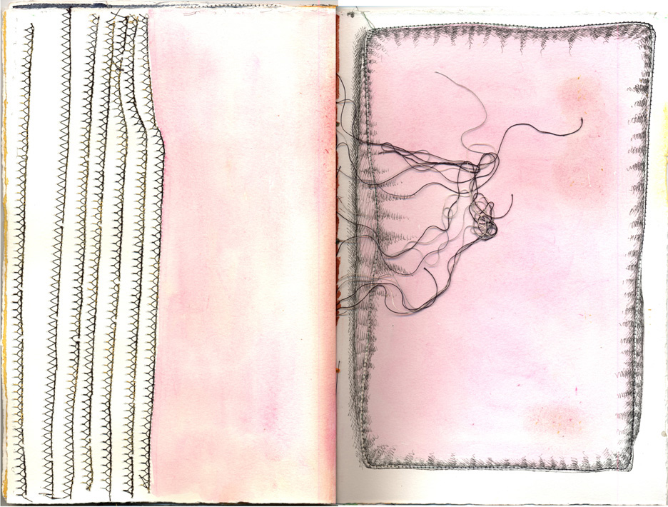 pink and white spread with fine black lines
