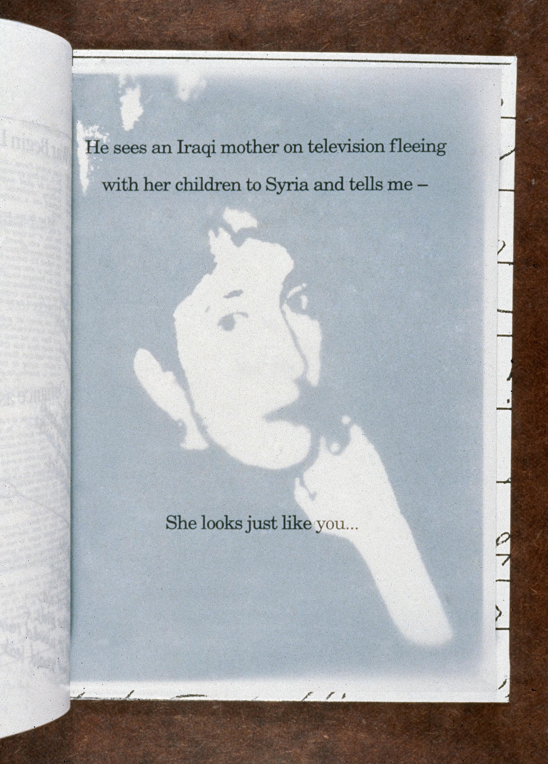 a woman's face showes through a transparent page
