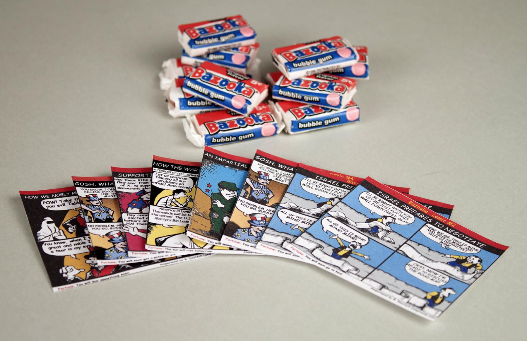 assortment of bazooka bubblegums with comics