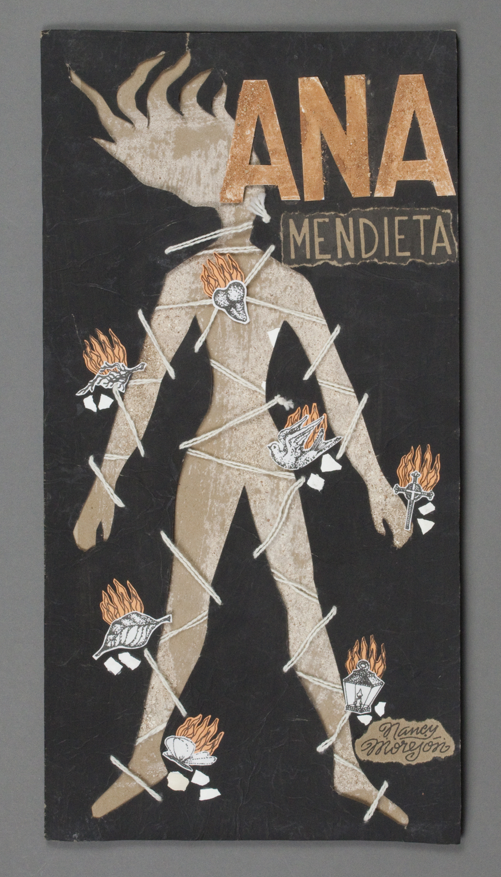 book cover with cut out of woman's body with fire