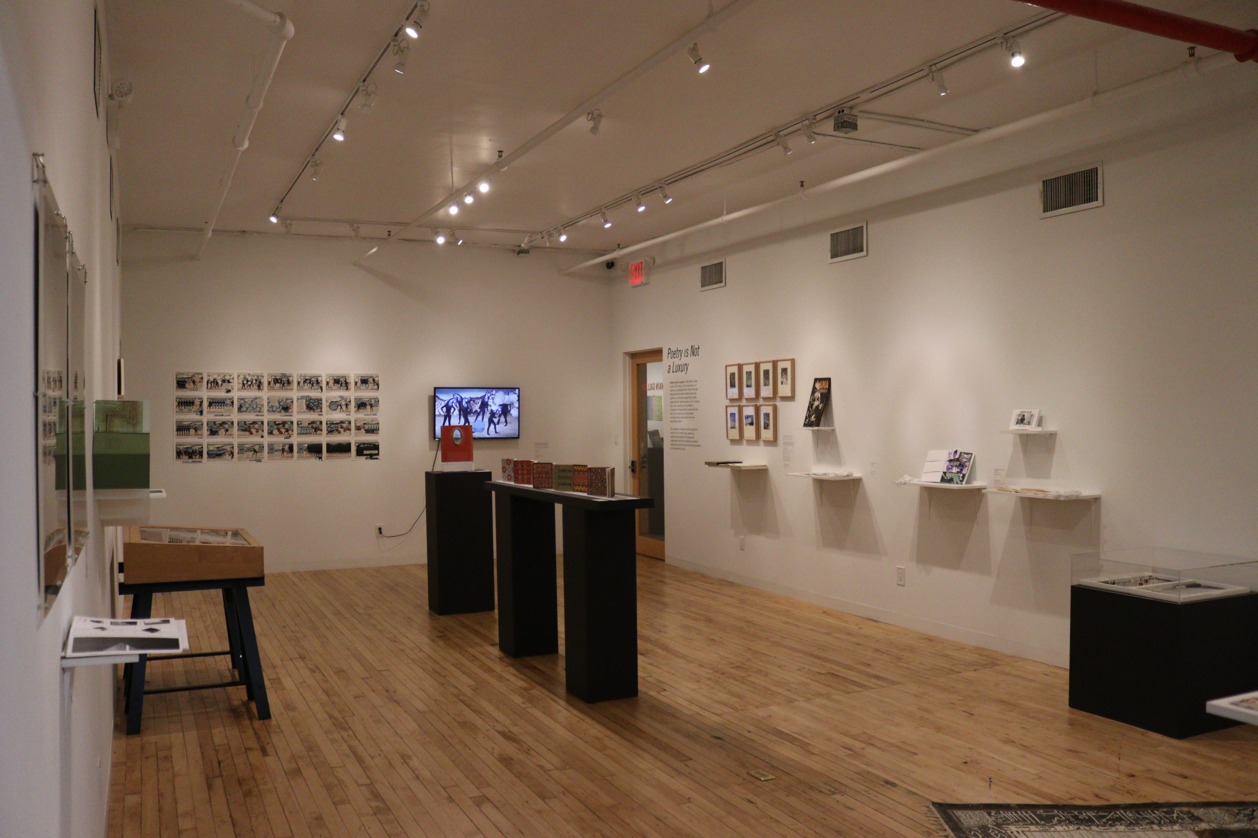 gallery filled with artists books from Poetry is not a Luxury