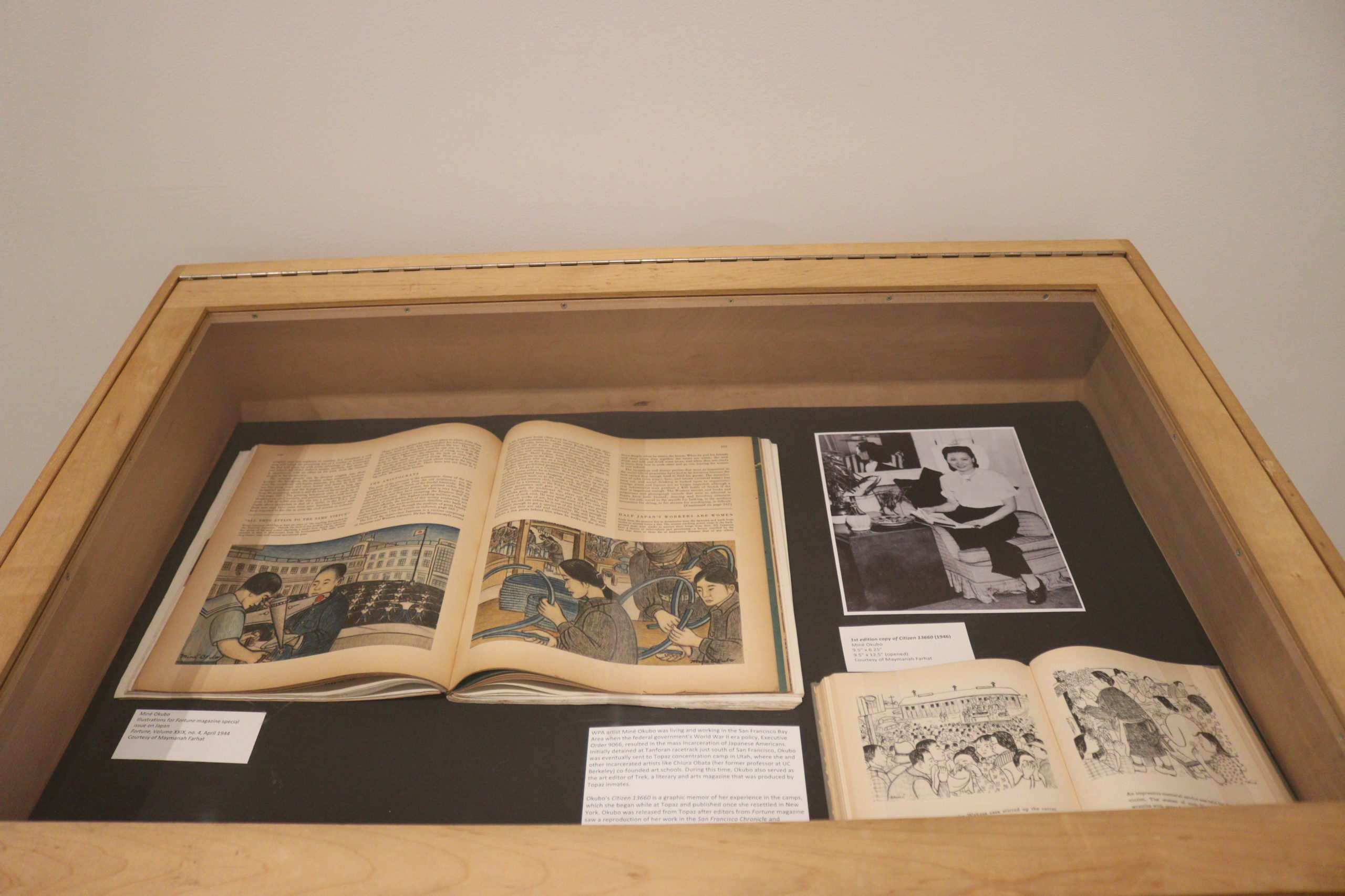 flat display case containing books and documents about the work of Mina Okubo