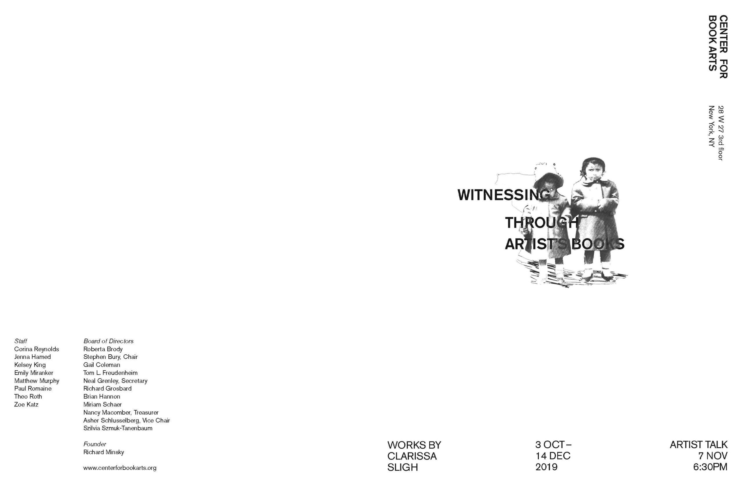 page 2 & 3 of Witnessing Through Artist's Books: Clarissa Sligh brochure