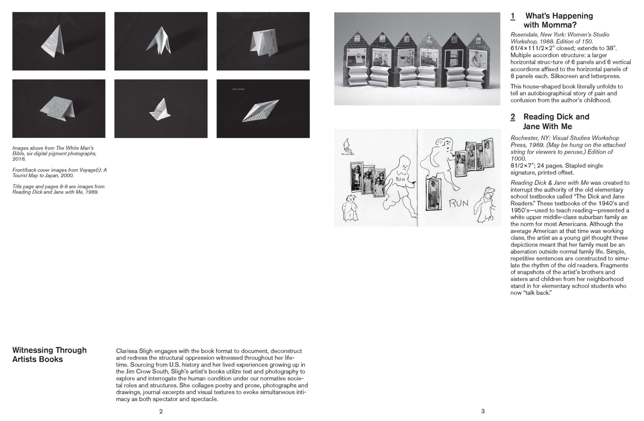 page 4 & 5 of Witnessing Through Artist's Books: Clarissa Sligh brochure