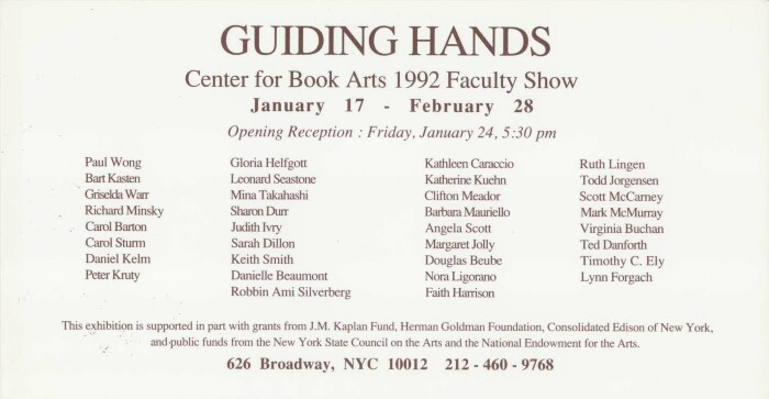 postcard listing artists in the Guiding Hands exhibition