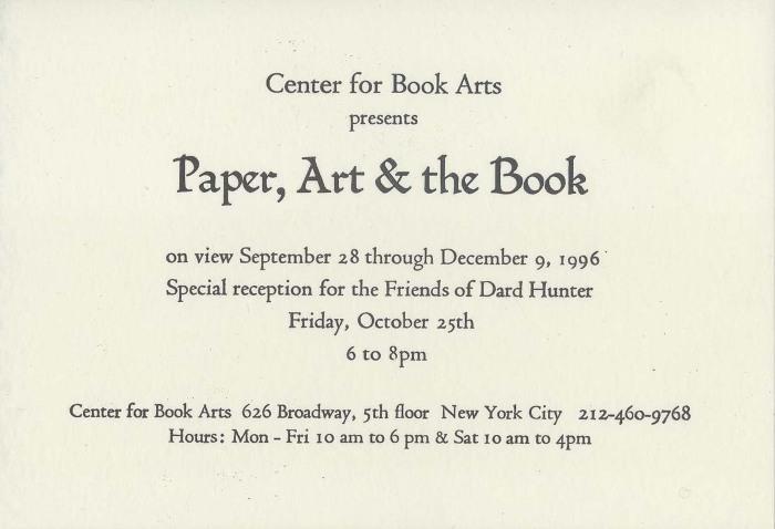 letterpress exhibition invitation