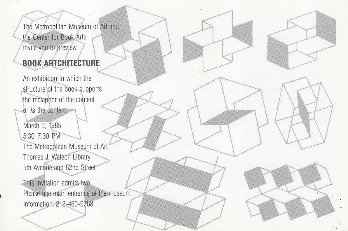 White postcard with light grey text and shapes in the background