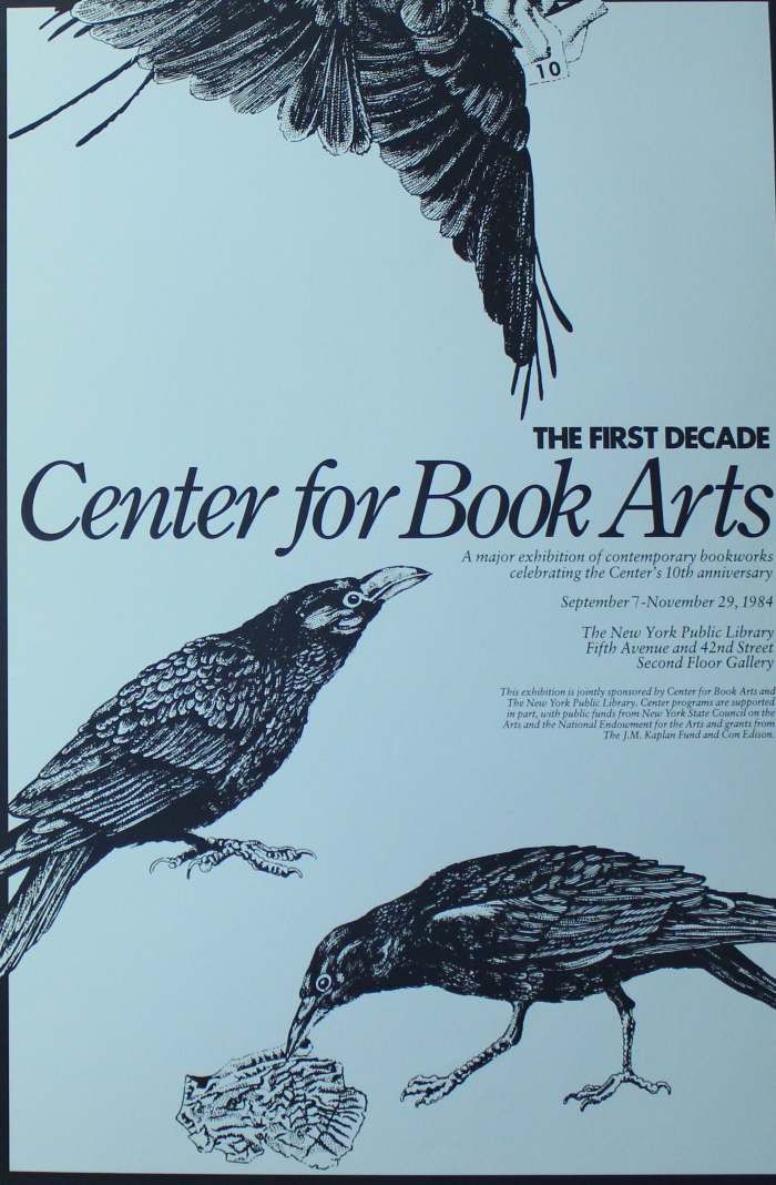 Light blue poster with three black birds and black text