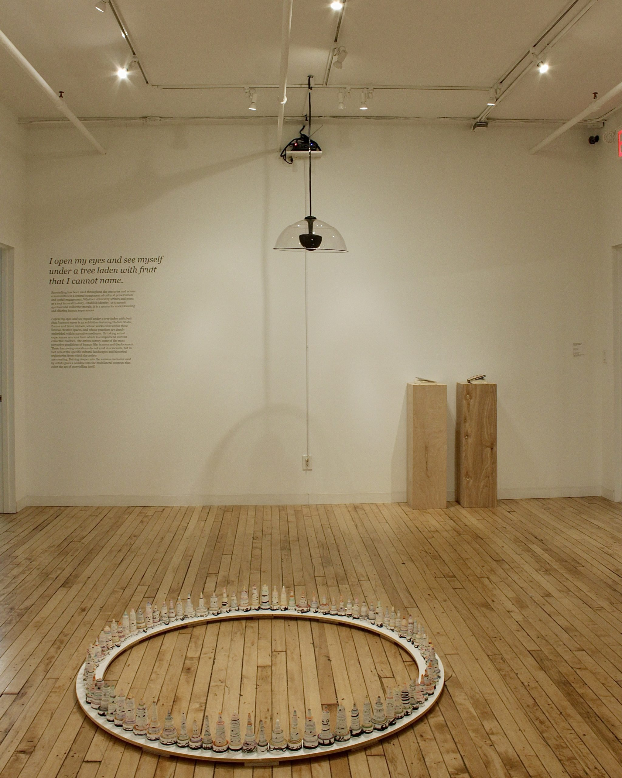 Installation view of works by Hadieh Shafie and Sinan Antoon