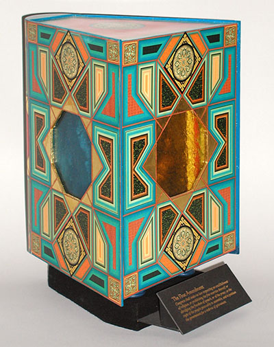 Colorful reliquary for the Ashes of Salman Rushdie's Satanic Verses