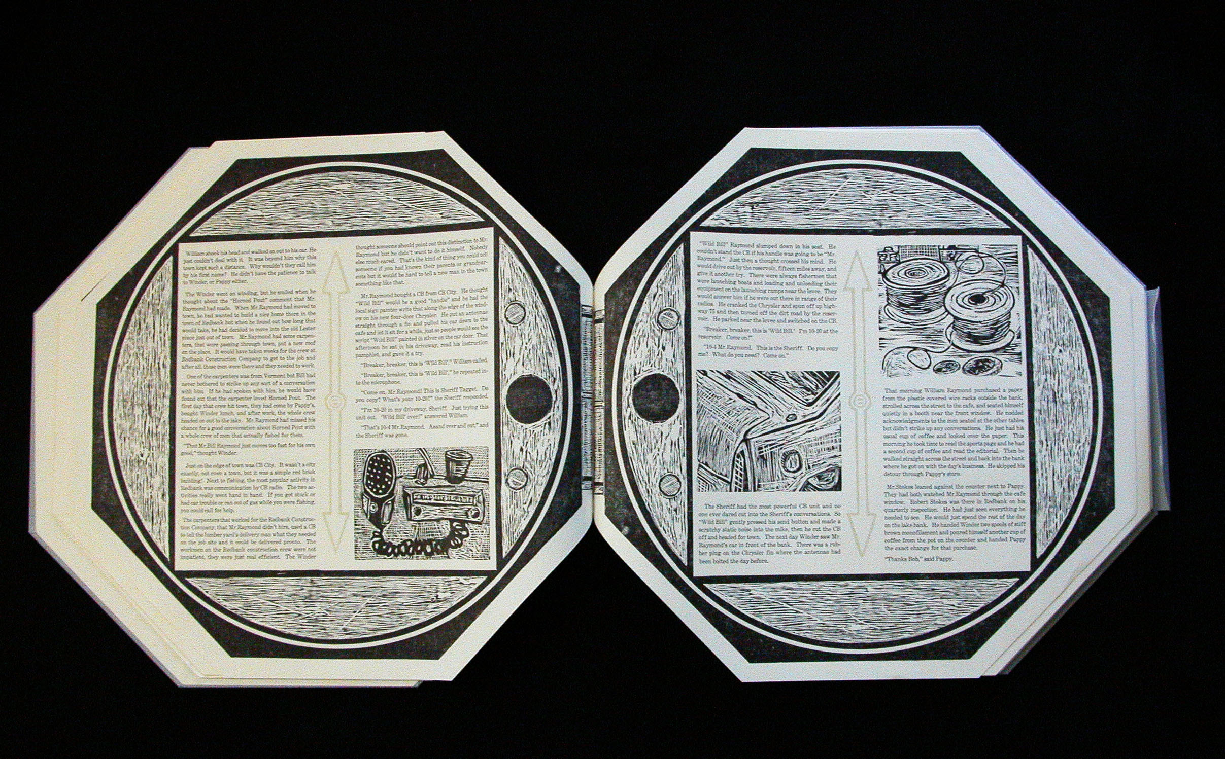Octagonal shaped book with woodcuts and letter press printed story