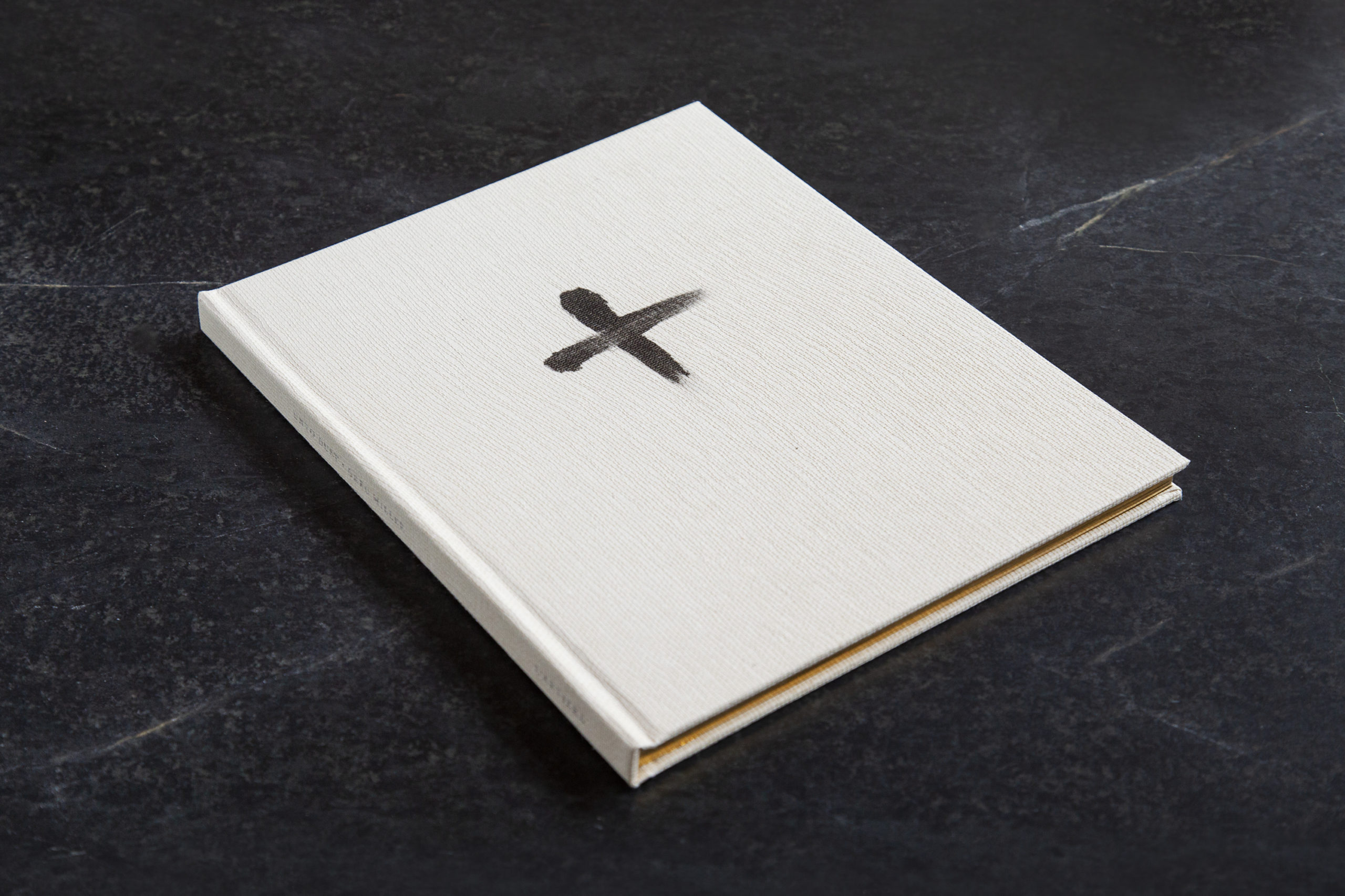 white book with an ash wednesday-like charcoal cross on the cover