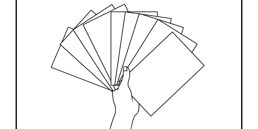 line drawing of a hand holding 9 books fanned out as if cards