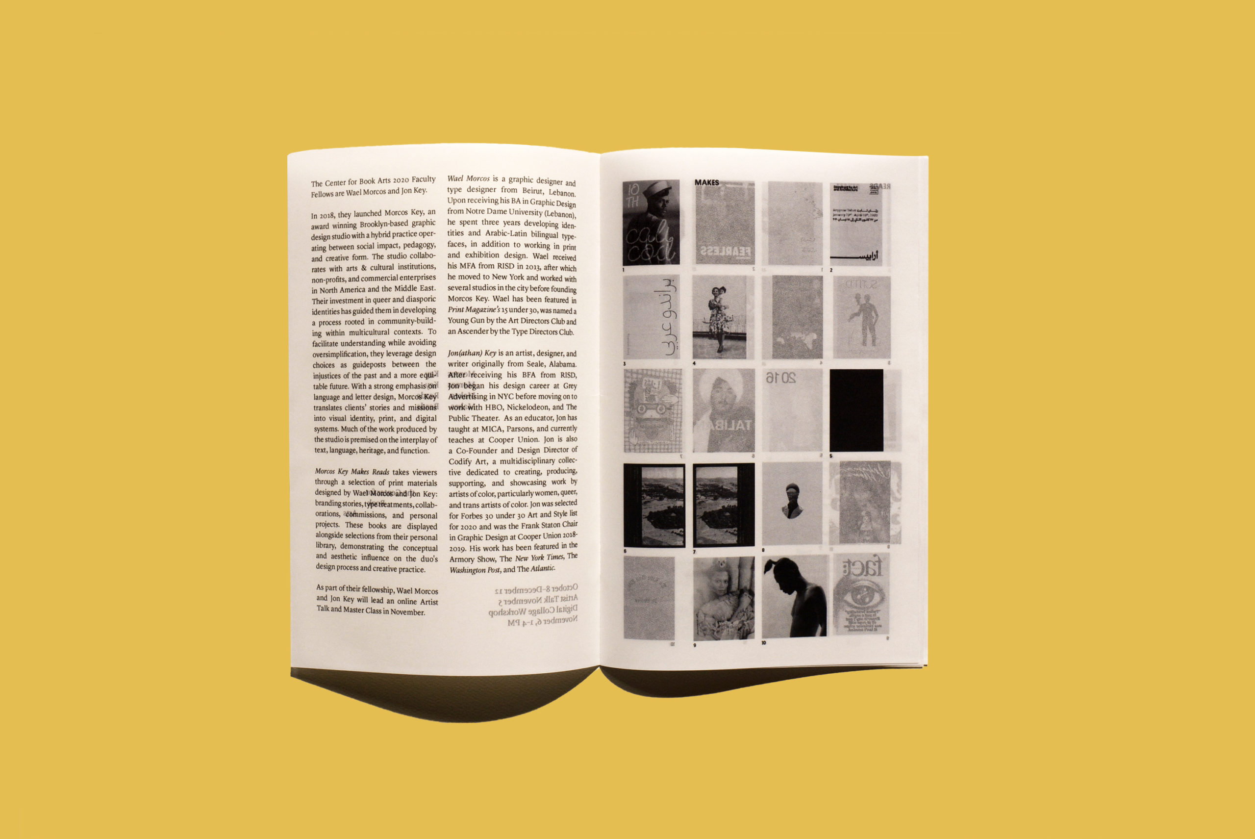 book with grid of book covers printed on translucent pages