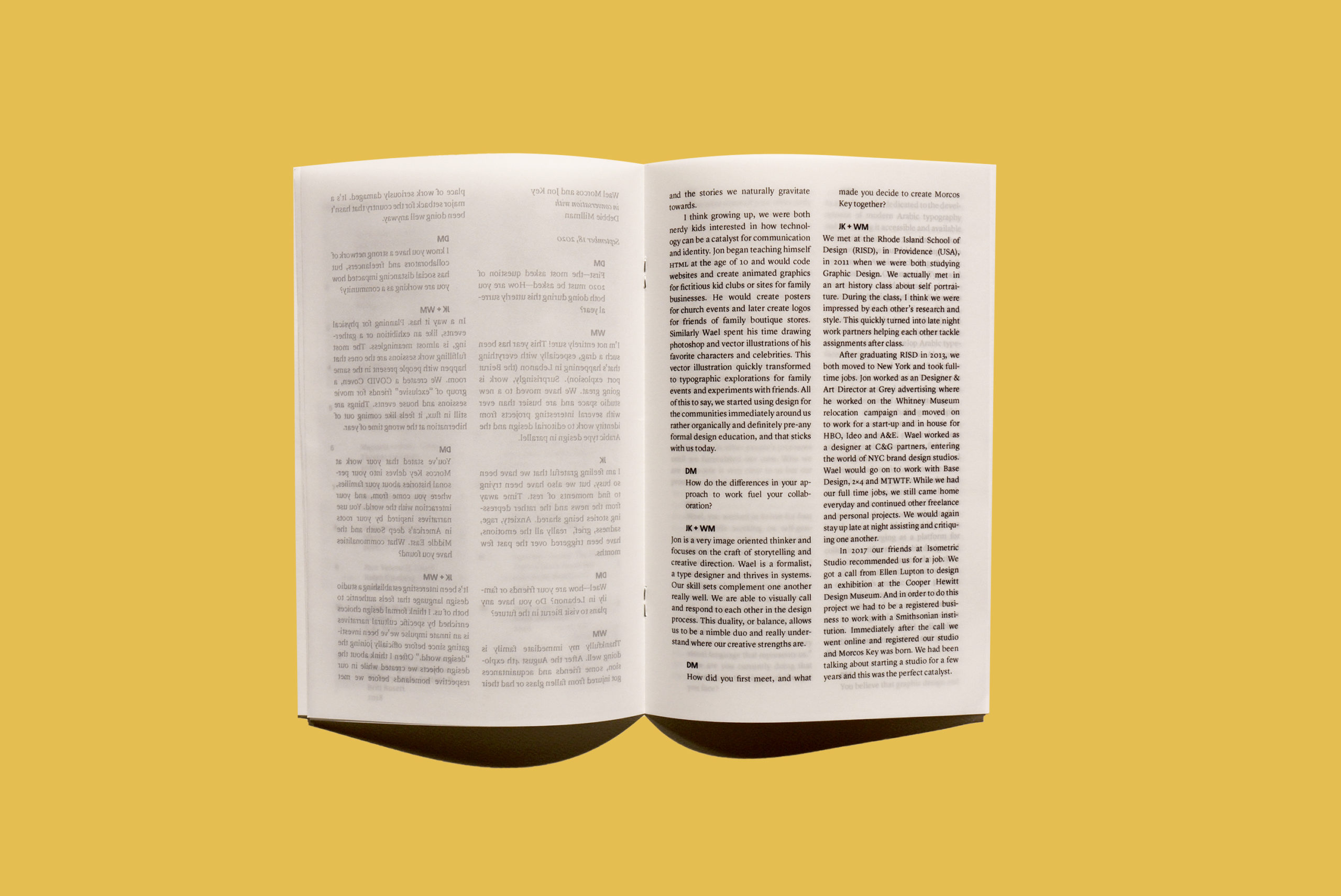 book with translucent pages and an interview
