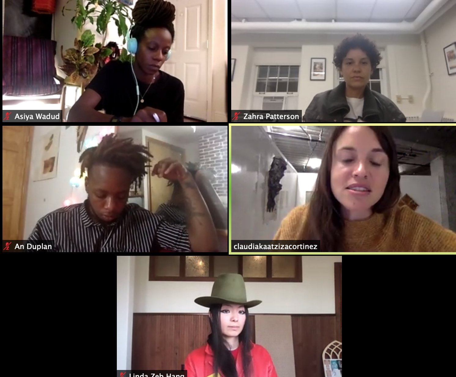 five people read poetry on zoom