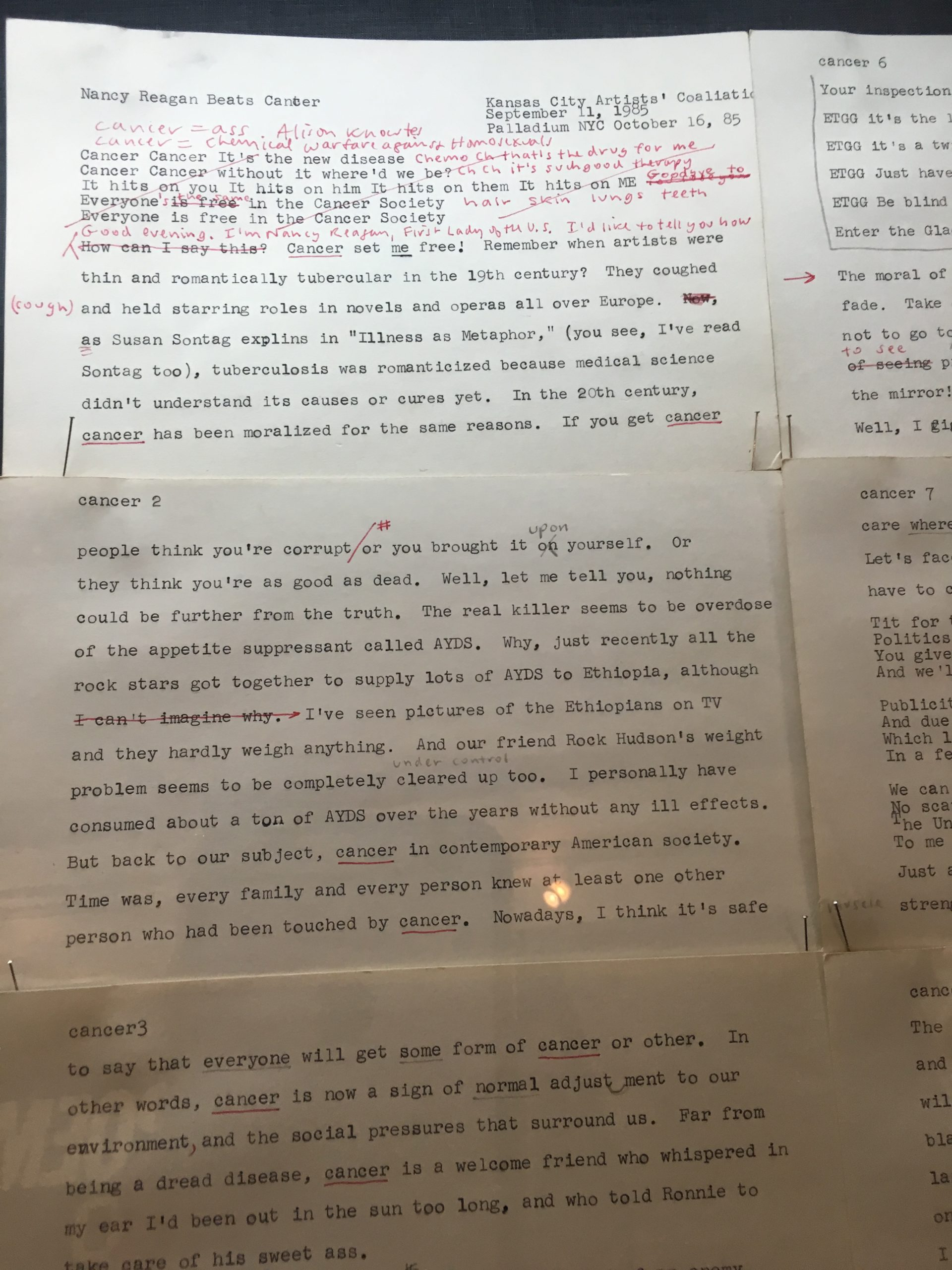 close up of typewritten documents