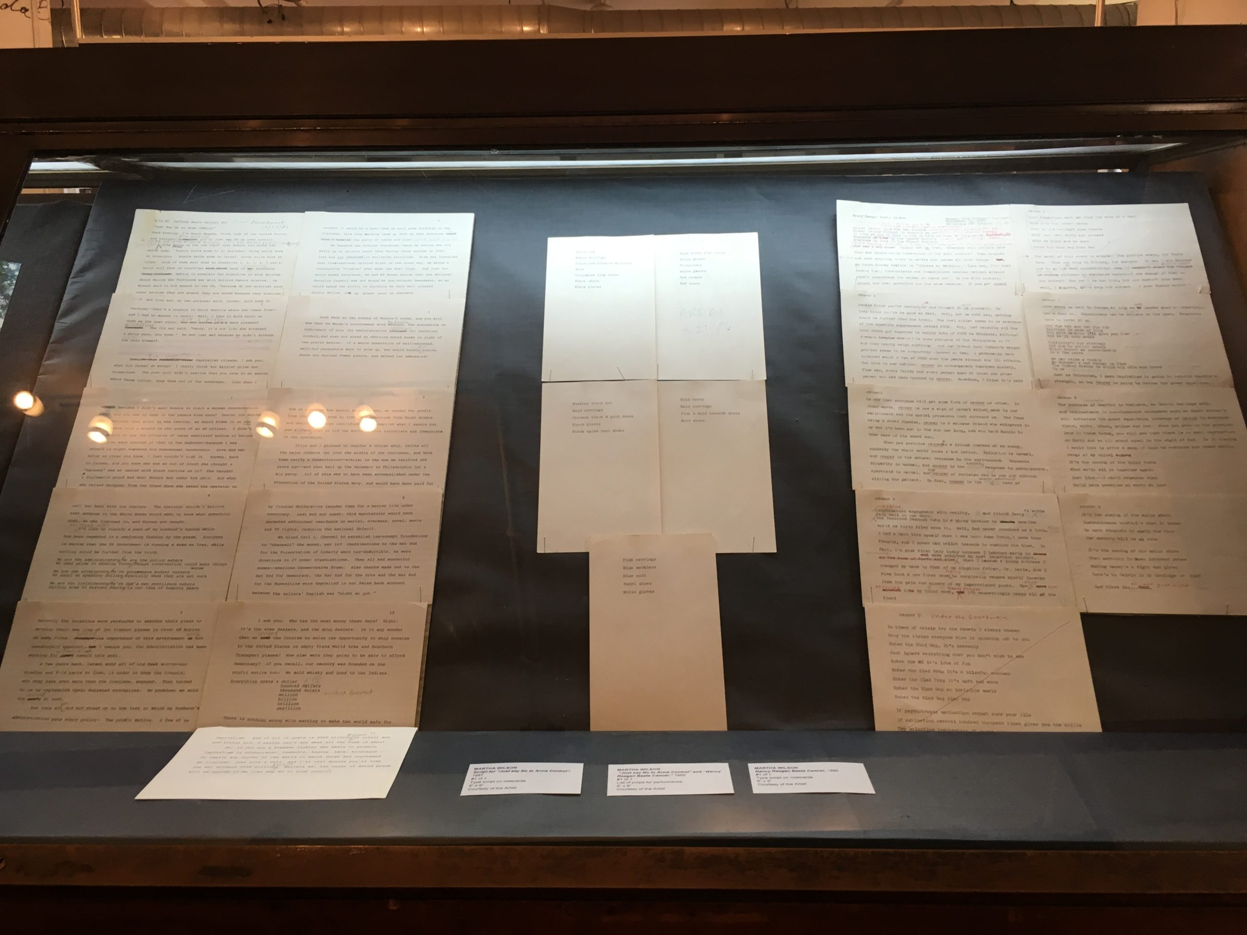 documents in a vitrine
