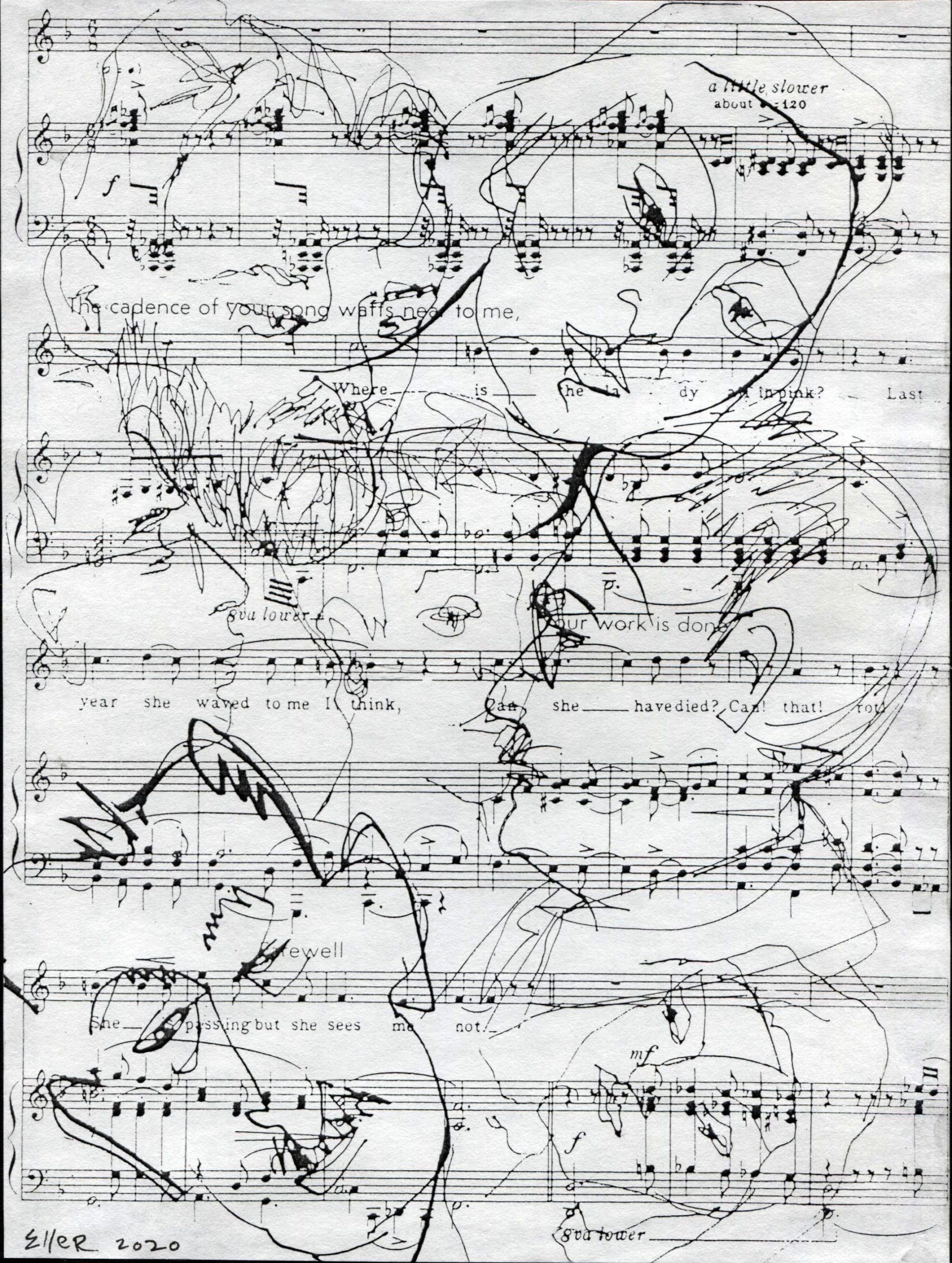 drawing of two figures on top of musical notations