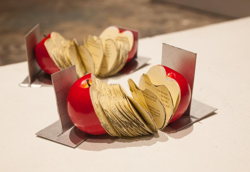 two apple shaped books