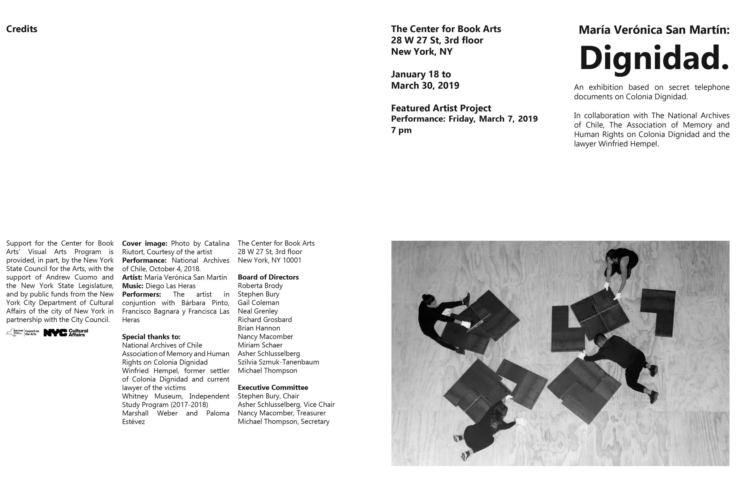 brochure spread with image of performance