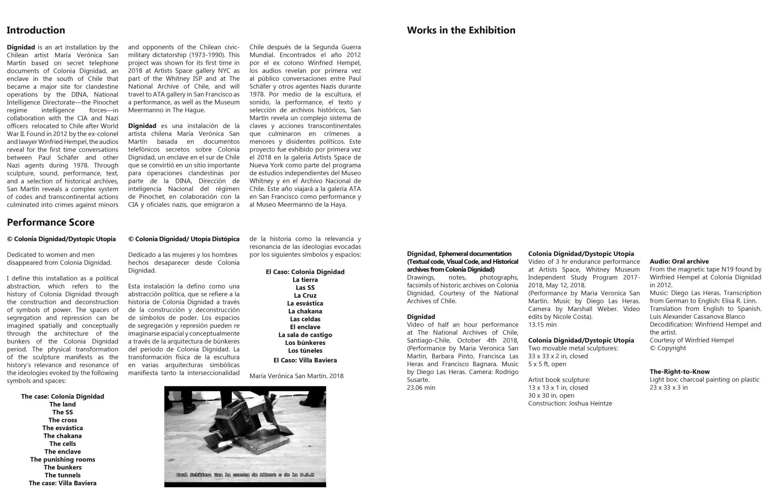 brochure spread with exhibition checklist of works exhibited