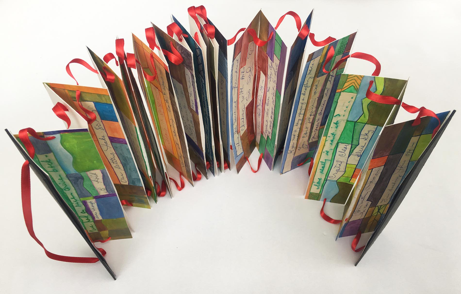 accordion book standing upright
