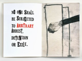 """book spread with the words """"no one shall be subjected to arbitrary arrest, detention, or excile"""""""