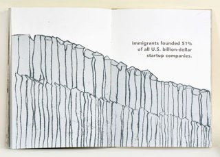 book spread with image of a border wall