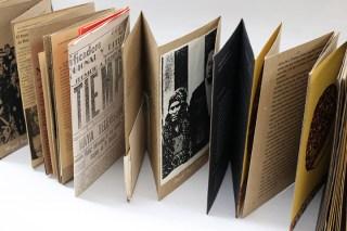 brown accordion fold book