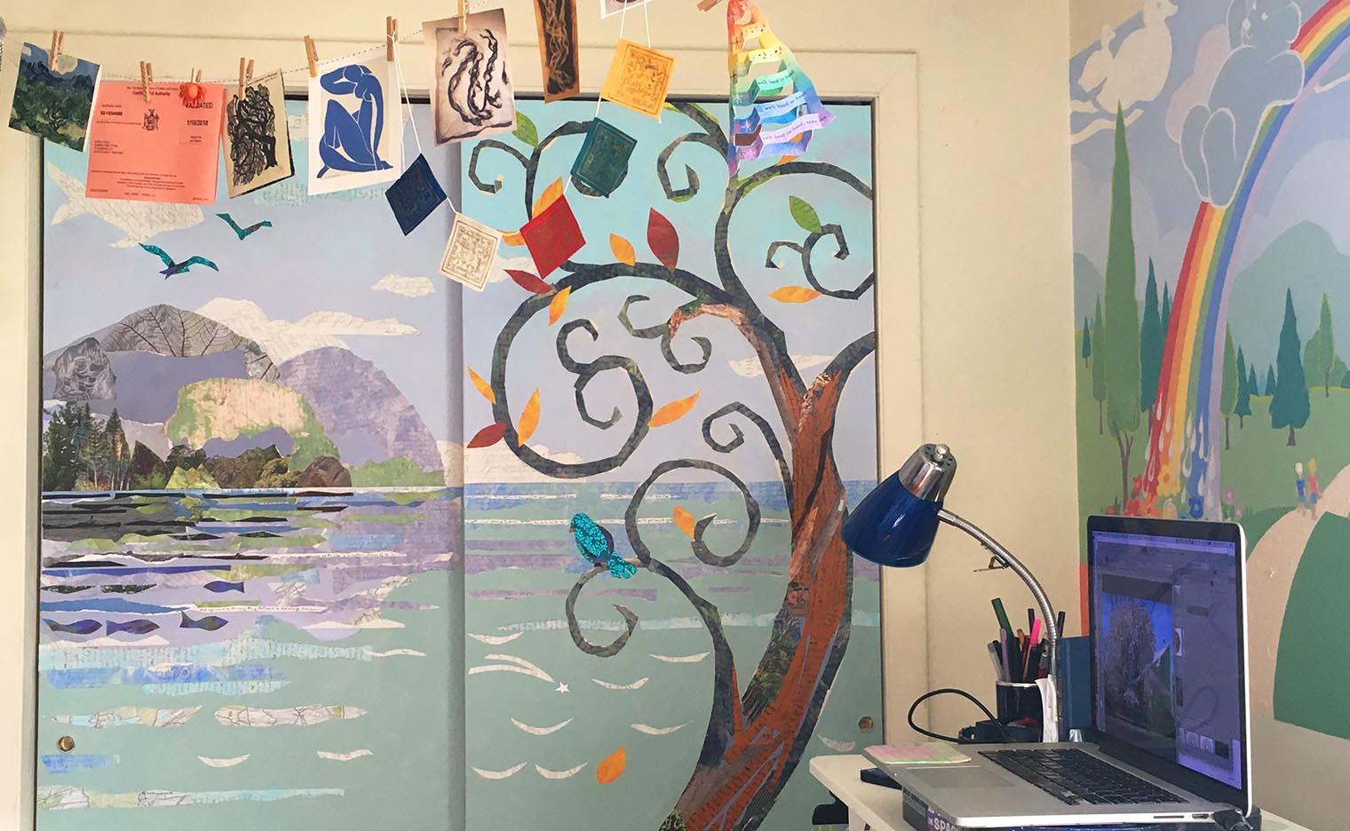 closet doors painted with an island scene