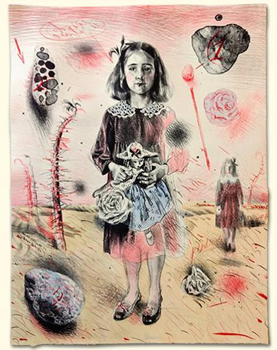 A girl depicted against a desert landscape