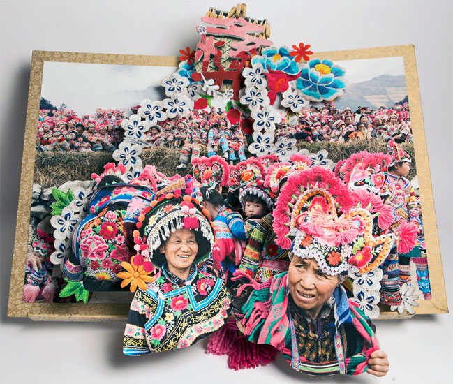 pop up book of Chinese in festive costumes