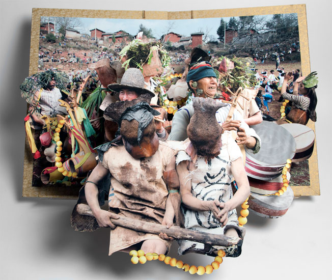 pop up book withmany people in traditional dress