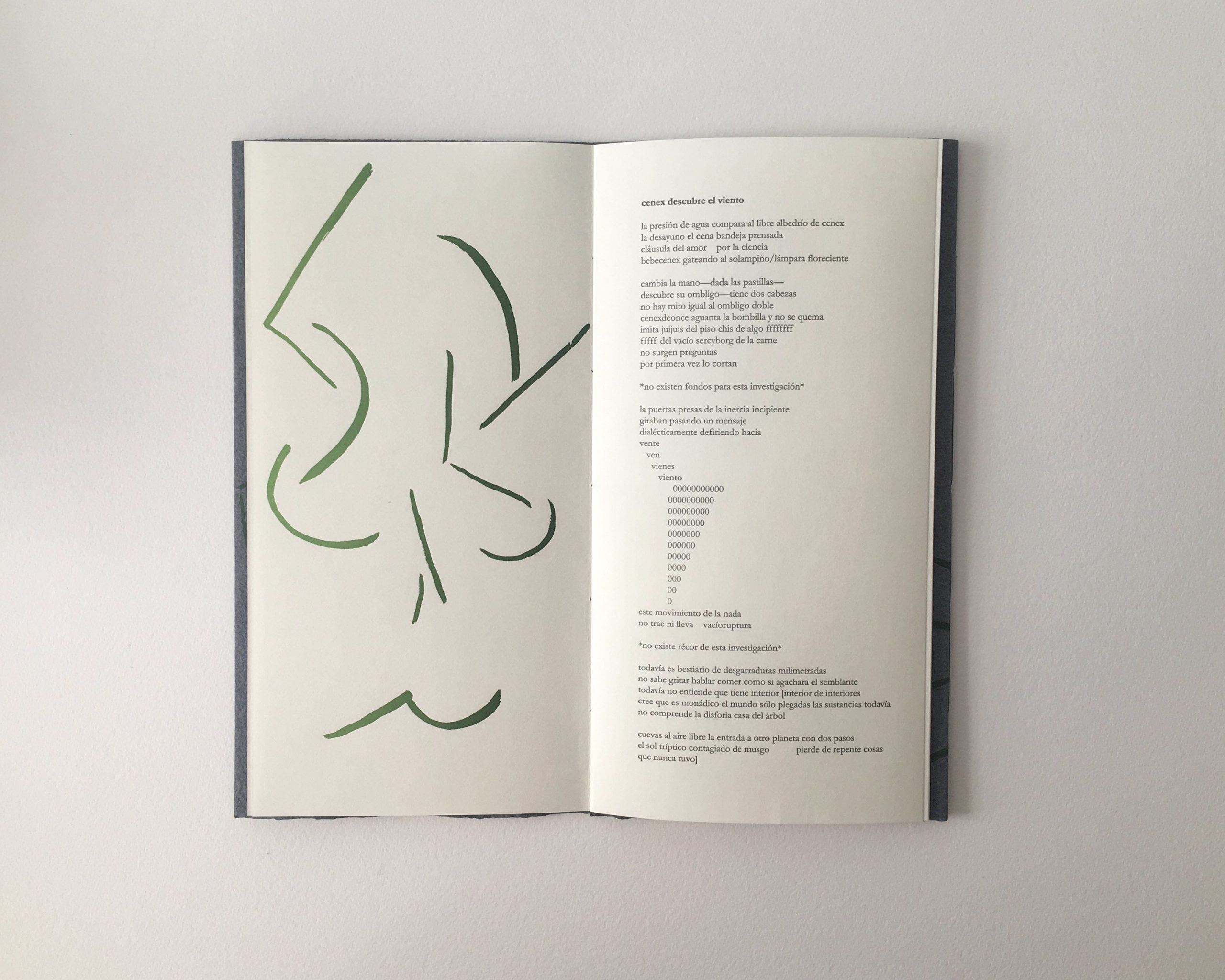 spread with poem and green design