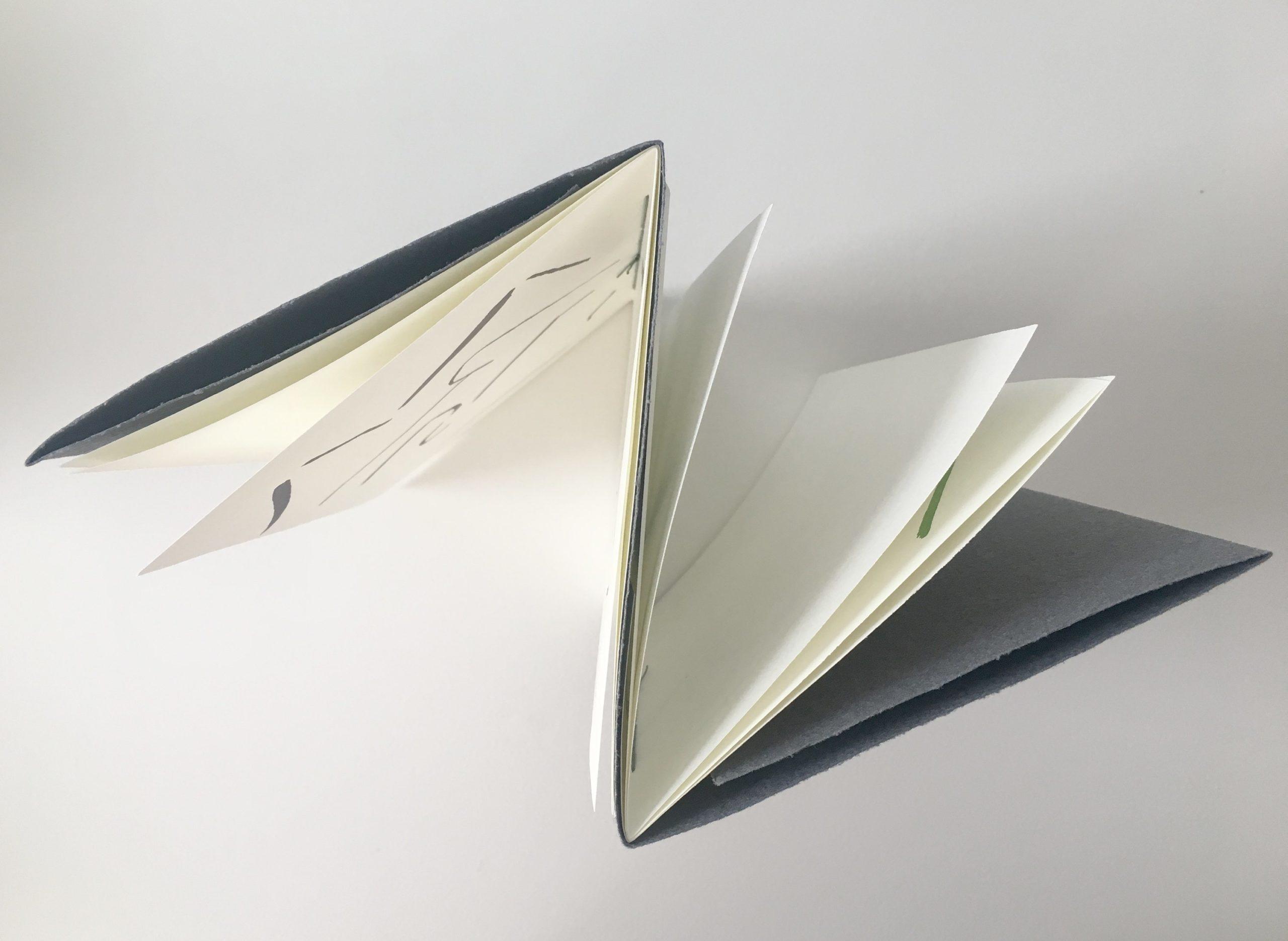 birsds eye view of book showing do-i-do binding