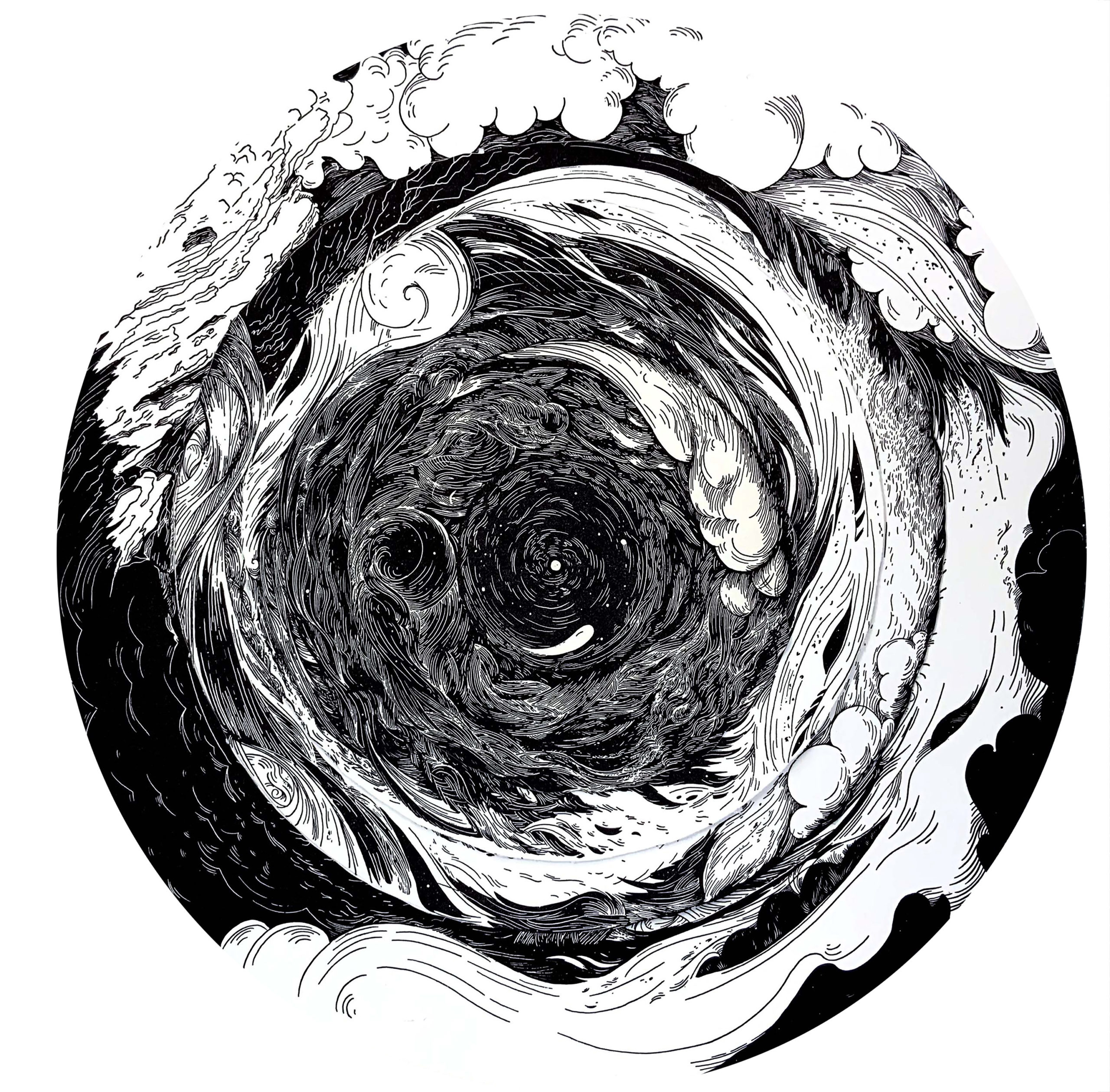 black and white circular illustration resembling a whirlpool