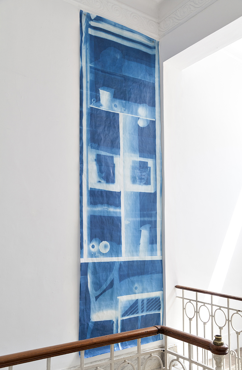 Aveces un Lugar by Claudia Cortinez. A large cyanotype is hanging on a white wall.
