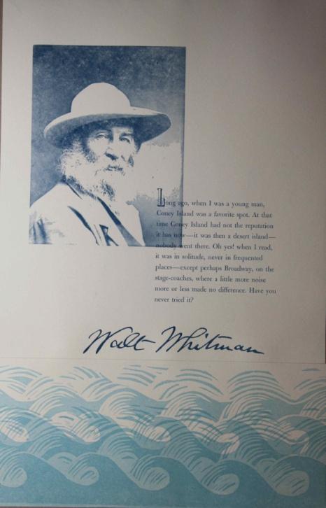 a portrait of walt whitman in blue
