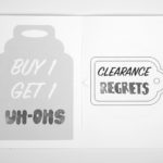 """A spread with an illustration of a jar that says """"Buy 1 Get 1 uh-ohs"""", and on the right side of the spread there is an illustration of a clearance tag that says """"CLEARANCE REGRETS"""""""