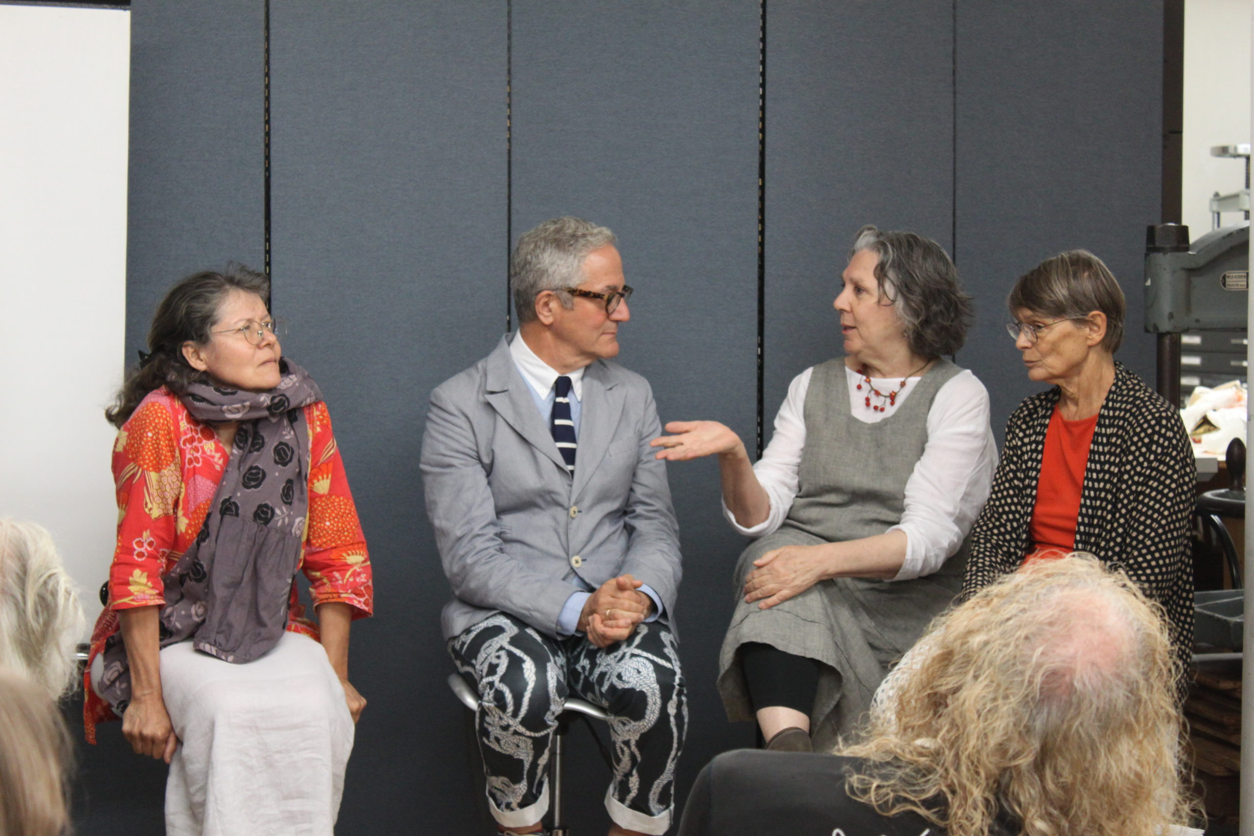 Louise Marie Cumont, Stephen Guarnsccia, Barbara Mauriello, and Elizabeth Lotic at Center for Book Arts, 2018