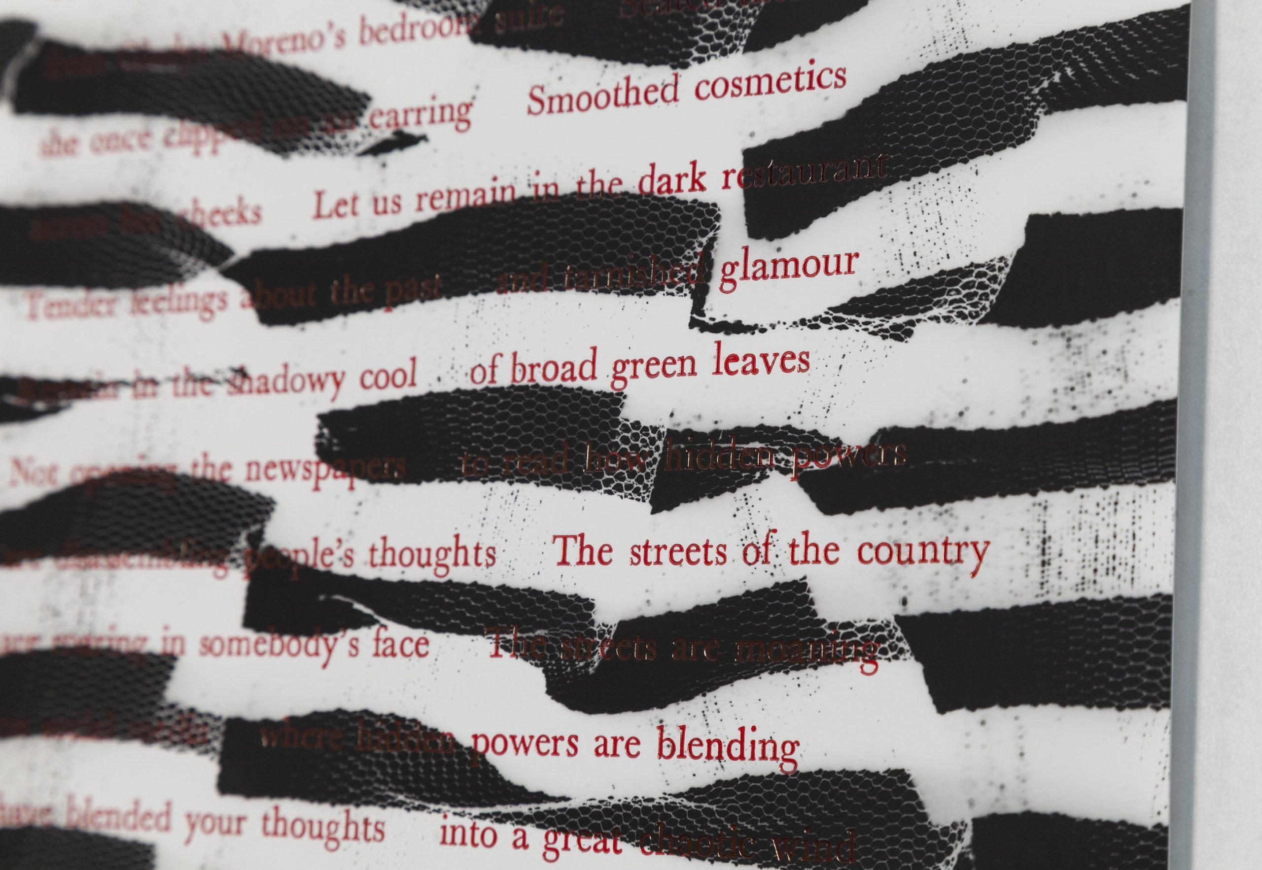 close up of red poem on black and white image