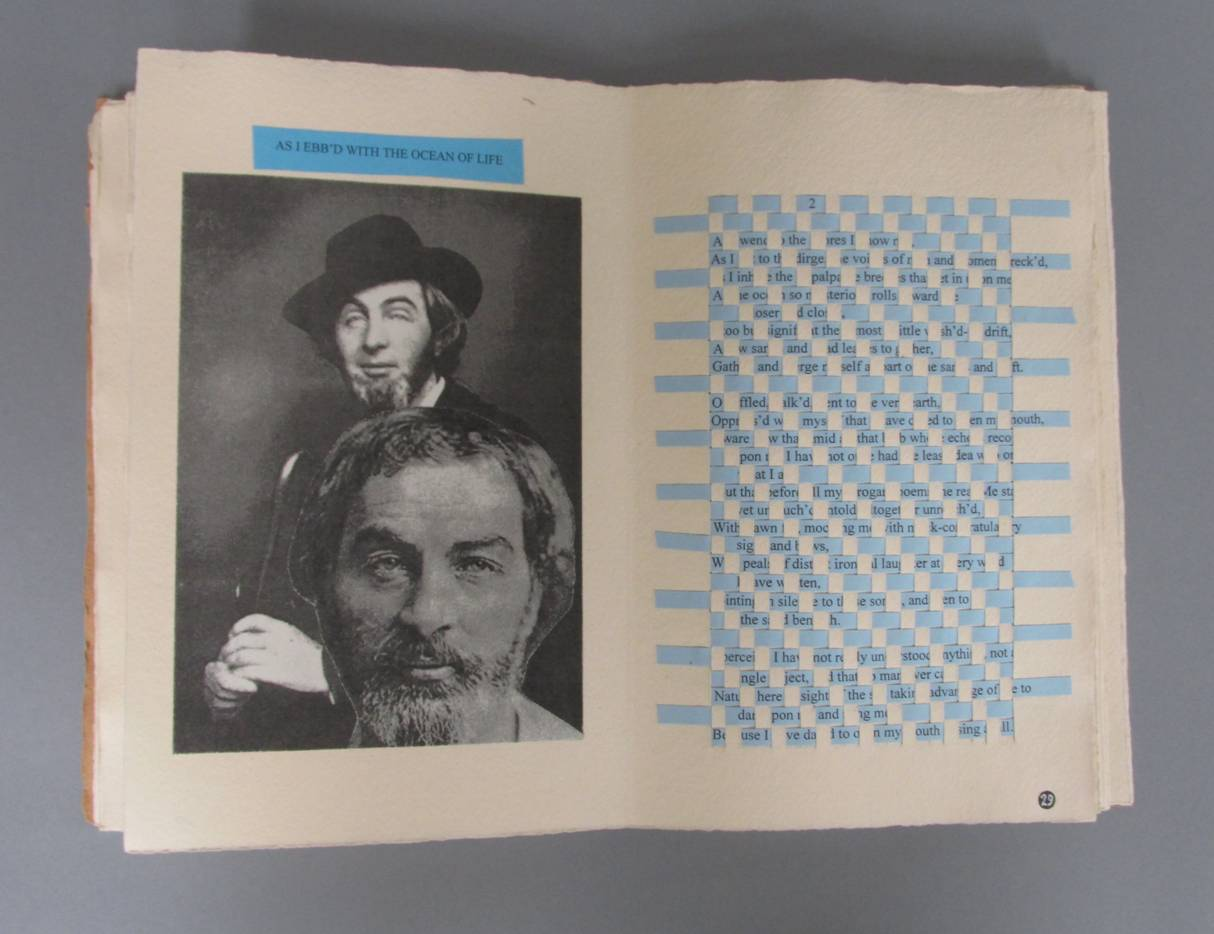 the pages of a whitman book are woven together color