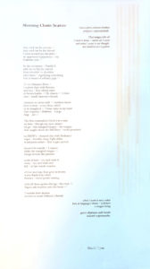 blue, white, and brown broadside with the poem Morning Chant: Scatter printed on it