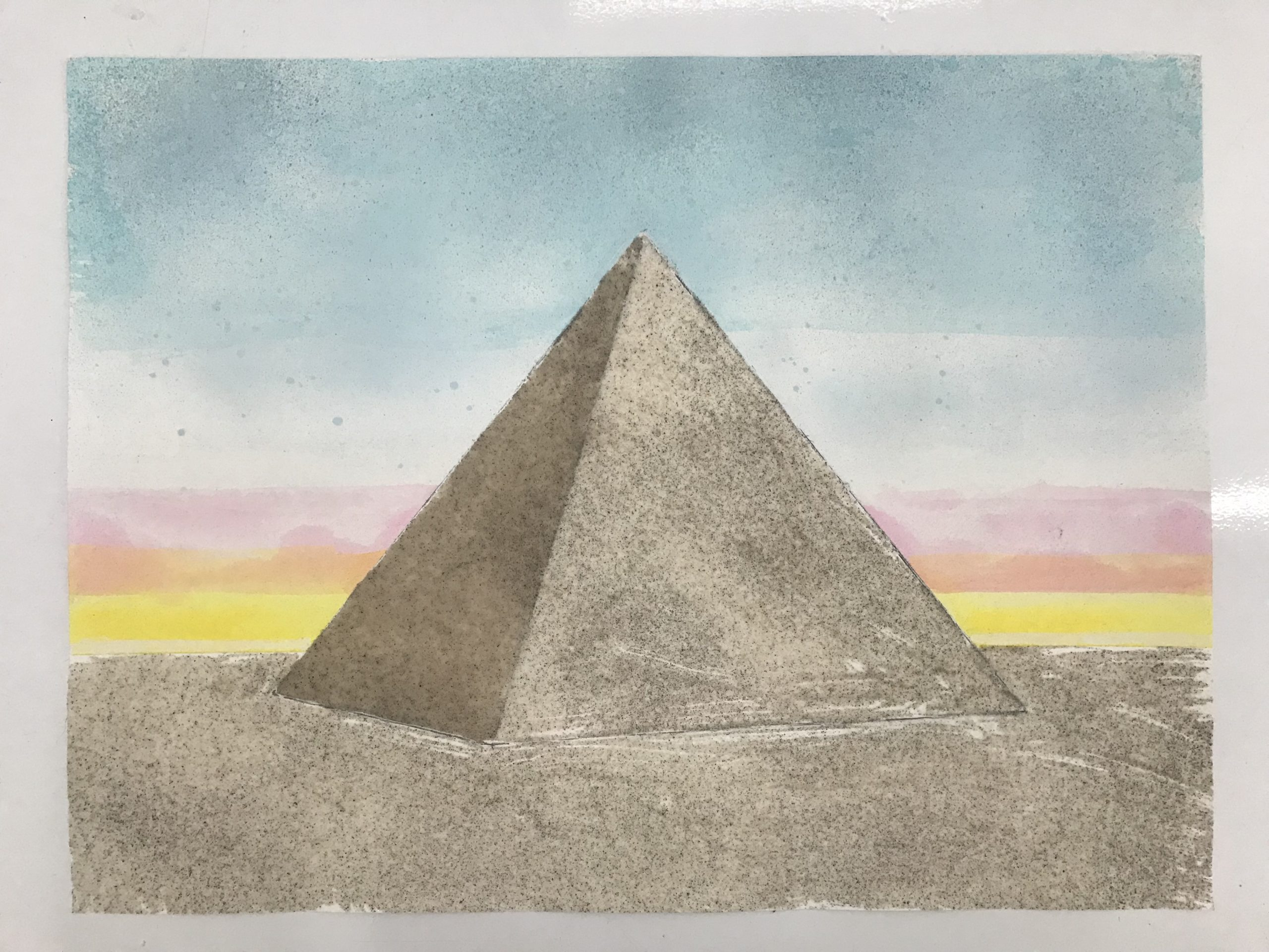 a drawing of a pyramid with a sunset behind