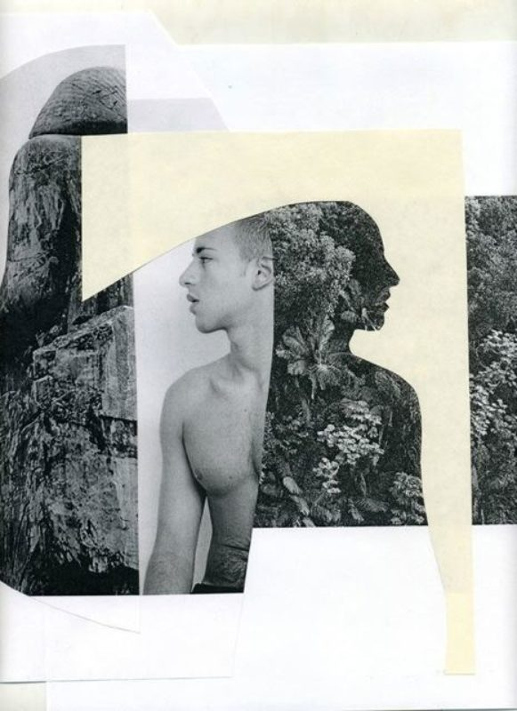 Photographic collage of a man and nature