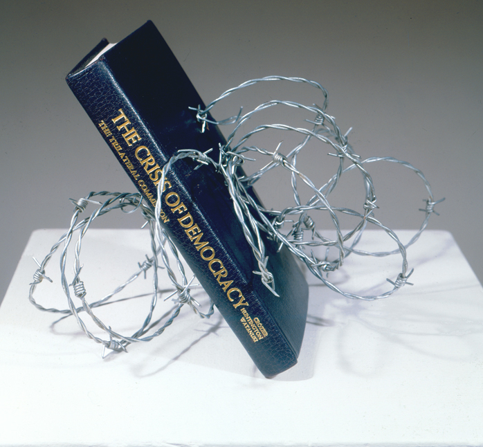 The Crisis of Democracy by Richard Minsky. A book wrapped in chain-linked wire.